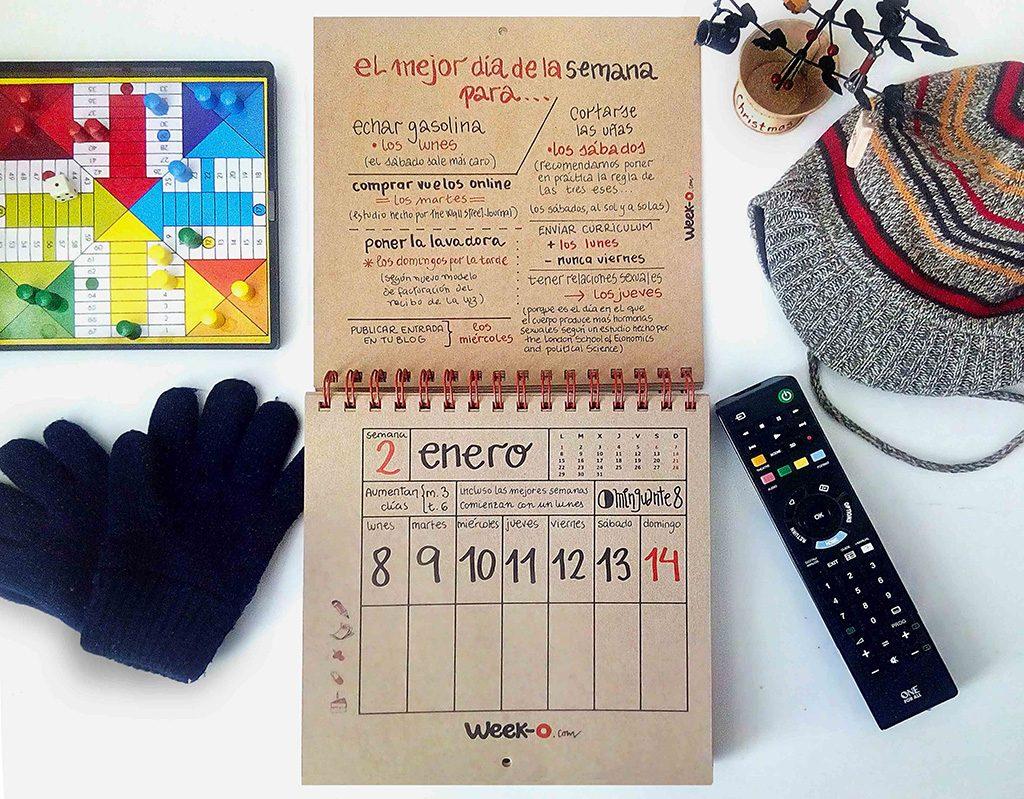 almanaque week-o en invierno hoja de calendario en enero