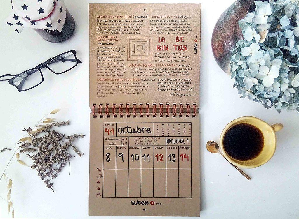 calendario week-o en otoño mes de octubre