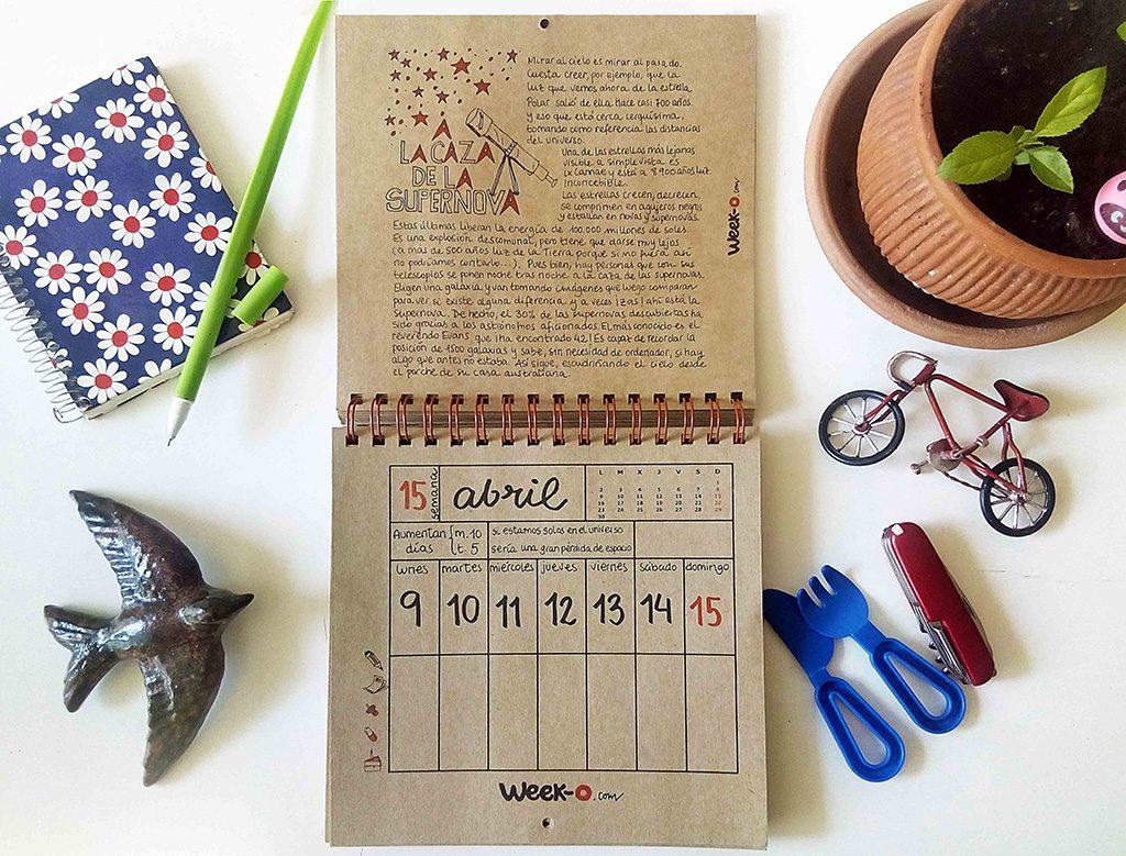 almanaque week-o en primavera hoja de calendario en mes de abril